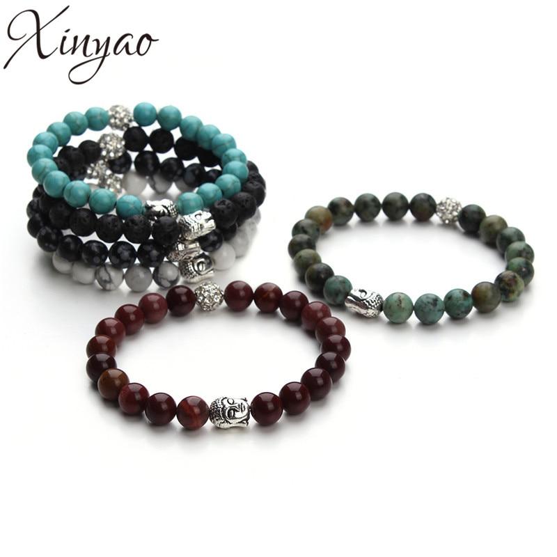 XINYAO 2017 Natural Stone Turquoises Black Lava Beads Bracelet Antique Gold Silver Color Buddha Head Charm Bracelets Men Women