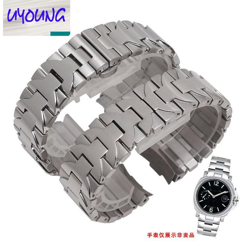 22mm 24mm de Haute qualité Solide En Acier Inoxydable Bande de Montre Bracelet de Bracelet Hommes De Luxe marque montres accessoire 312