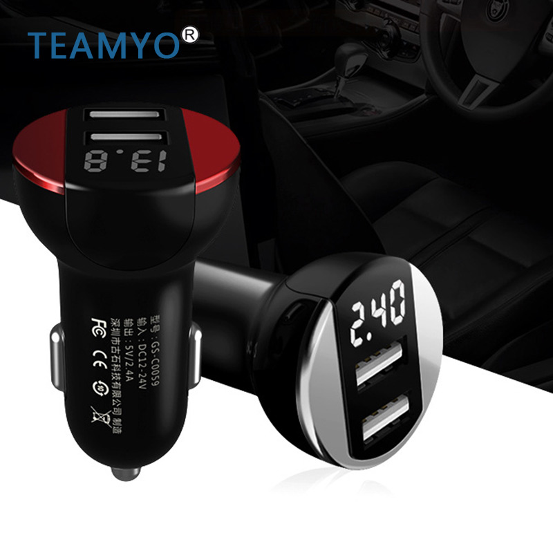 Smart LCD Digital Display Dual USB Car-Charger TEAMYO Universal 2.4A USB Car Charger Adapter for Mobile Phones Universal Charge