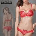 Big Marca Europa e América Mulheres Lace Bra Set, Sexy Luxo Bordado Empurrar Para Cima Transparente Sutiã de Renda e Calcinha conjunto BS230