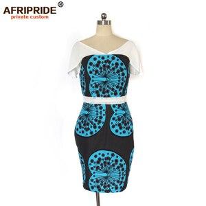 Image 2 - Cire africaine été robes moulantes pour les femmes AFRIPRIDE sur mesure manches réglables genou longueur femmes robe de soirée A1925006