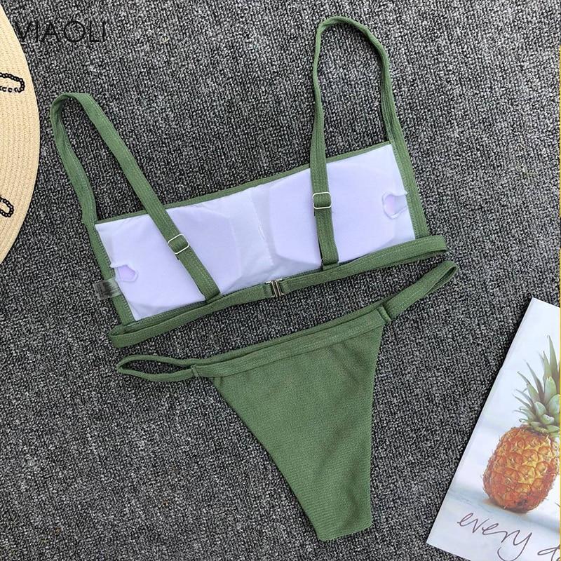 Women's Swimming Suit Green Adjustable Sling Thong Bikini Set Push-Up Padded Bra Beach Swimsuit Swimwear Biquini New Arrival