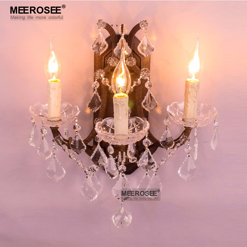 3 Lights Retro Crystal Wall Light Fixture Rustic Wall Sconces Lustres Lamp for Porch Aisle American Style Wall Lighting Modern free shipping modern 3 light crystal wall lamp fashion wall lights for home fixture indoor lighting sconces decor wl064