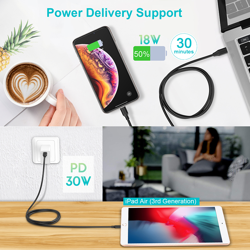 Image 2 - CHOETECH MFi PD Cable USB 2M C to Lightning Cable Fast Charging Syncing Cord Compatible for iPhone X/XS/XR/XS MAX/8/8 Plus iPad-in Mobile Phone Cables from Cellphones & Telecommunications