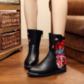 Fashion black PU boots for women butterfly embroidery Women Winter Boots keep Warm velvet  boots shoes for Ladies zapatos mujer