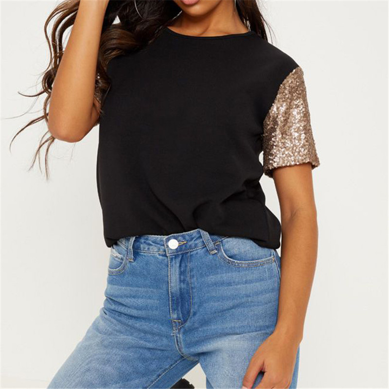 Summer T Shirt For Women 2019 New Fashion Sequin Patchwork Short Sleeve T-shirt Casual Loose O-neck Tunic Tops Tees Plus Size