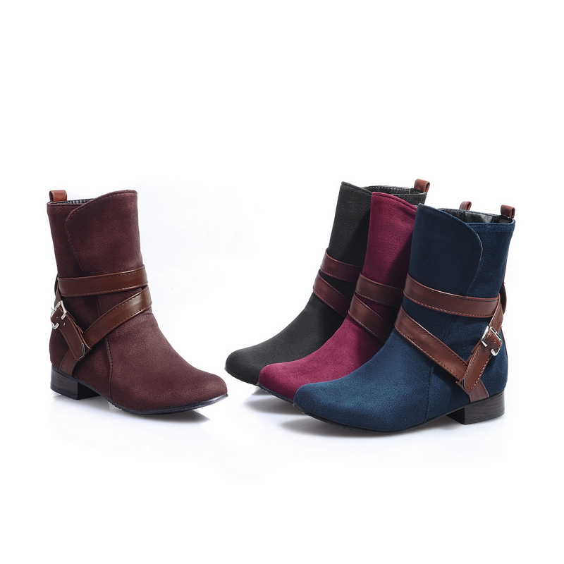 Hot New Sexy Red Black Brown Blue Women Riding Motorcycle Ankle Boots Ladies Shoes low Heels AQ106U Plus Big Size 47 33 12 brand new hot sales women nude ankle boots red black buckle ladies riding spike shoes high heels emb08 plus big size 32 45 11
