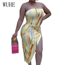 WUHE Sexy Printed Wrap-around Irregular Dress Women Off Shoulder Sleeveless Vintage Summer Hollow Out Party Roupa Feminina