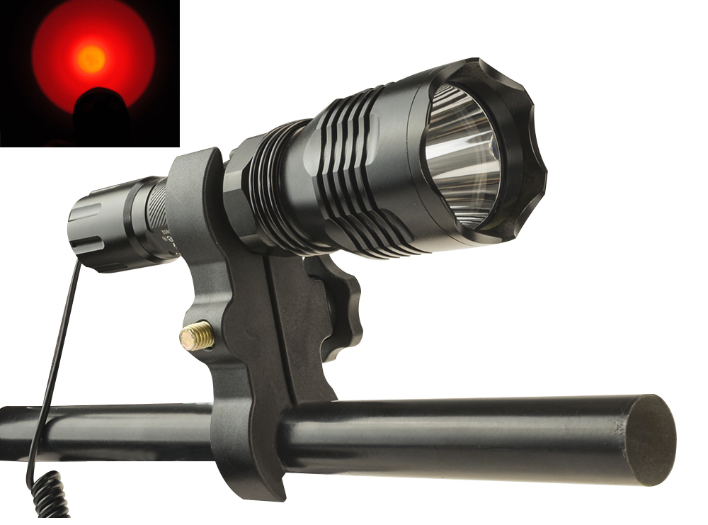 1-Mode CrazyFire HS-802 CREE XPE Red Light Night Tactical Hunting LED Flashlight Torch With Rifle Scope Mount Hunting Flashlight uniquefire uf 1200 super bright cree u2 lamp flashlight light from outdoor hiking night fishing hunting led flashlight