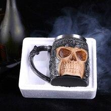 500ML Stainless Steel Beer Mug Retro Dragon Resin Skull Knight Tankard Halloween Coffee Cup Creative Viking Tea Mug Bar Decor