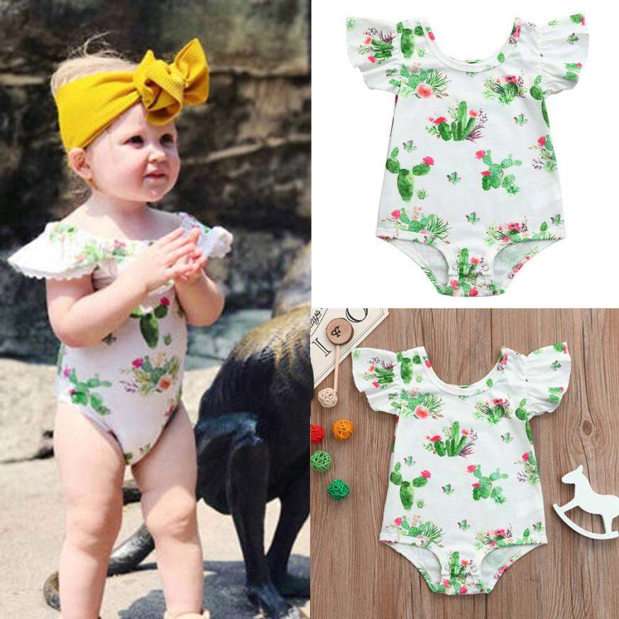 Summer Baby Girls Infant Cactus Print Sleeveless Jumpsuit Romper Clothes  Party Dress  5.22