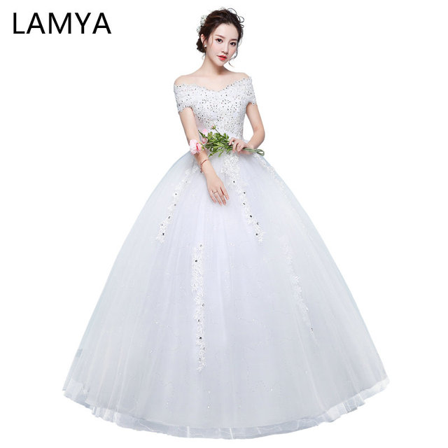 LAMYA Vintage Lace V Neck Wedding Gown Princess 2018 Bridal Dress ...