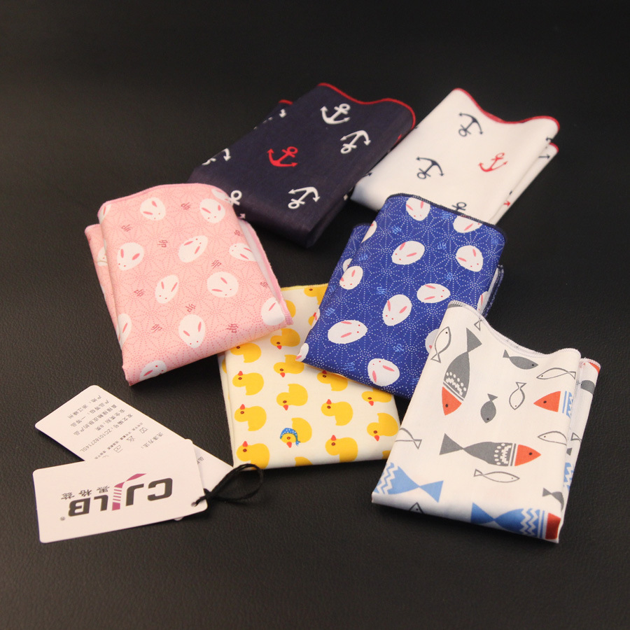 New Korean Fashion Designer High Quality Mens Handkerchiefs Pocket Squares Cotton  10pcs/lot