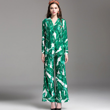 New Arrival 2017 Women's Turn Down Collar Long Sleeves Printed Loose Shirts with Long Pants Fashion Runway Twinsets