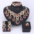 Top Requintado Dubai Borla Jóia Banhado A Ouro Colar de Cristal Conjunto de Jóias de Luxo Grande Casamento Nigeriano Beads Africanos conjunto de Jóias