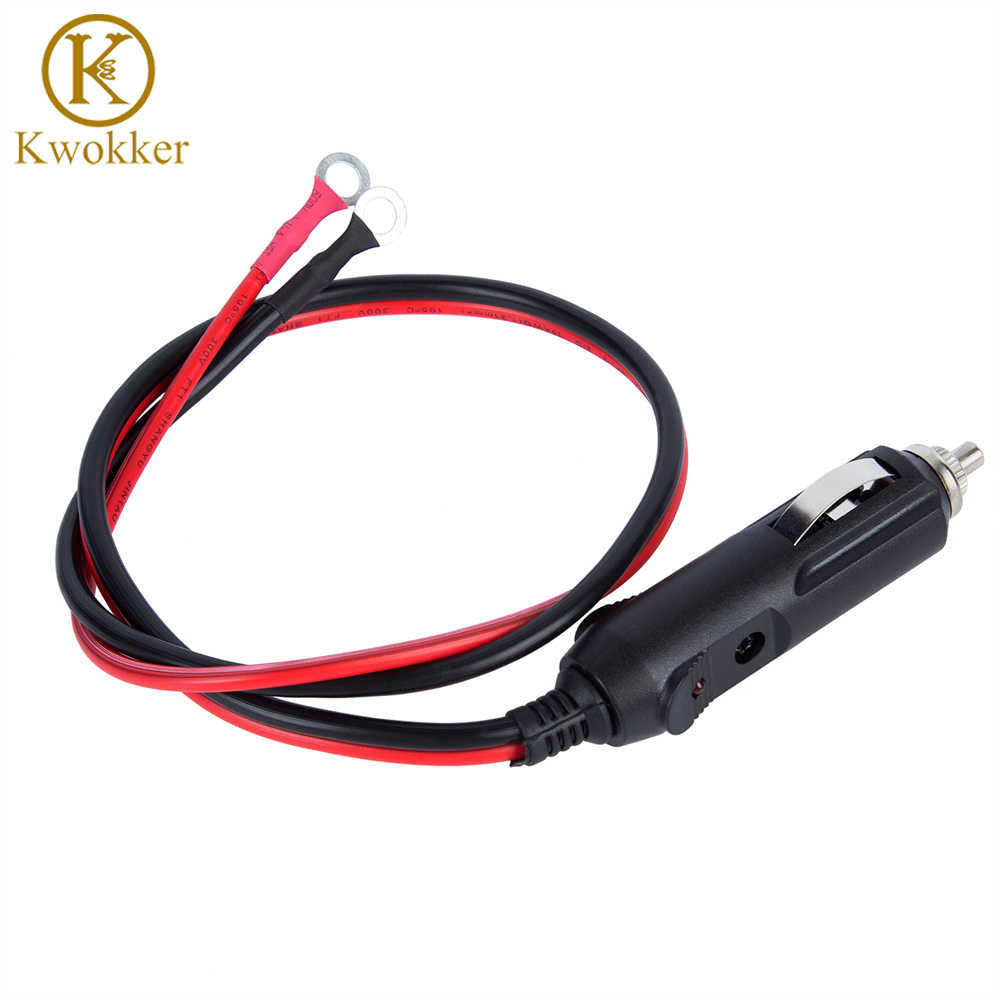 KWOKKER Car Charger 12/24V 15A Male Plug Cigarette Lighter Adapter Socket Power Auto Battery Charger with 1.6ft/0.5m Cable Wire