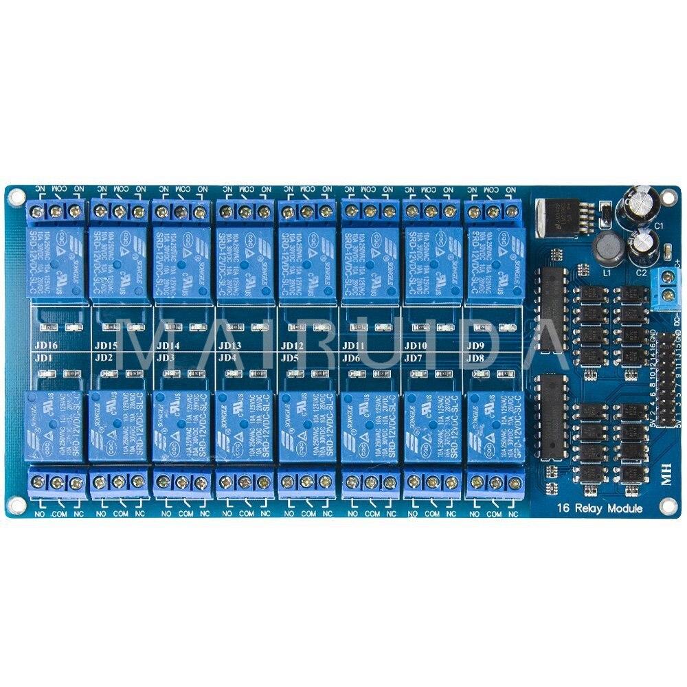 12 V 16-Channel 16 Canal Relais Module Interface Conseil PIC ARM DSP PLC Avec La Protection Optocoupleur Avec LM2596 Puissance