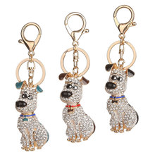 Lovely Pet Dog Bling Pendent Rhinestone Keychain Keyring Car Keys Bag Holder Charm Jewelry Gifts For Women Girls M8694
