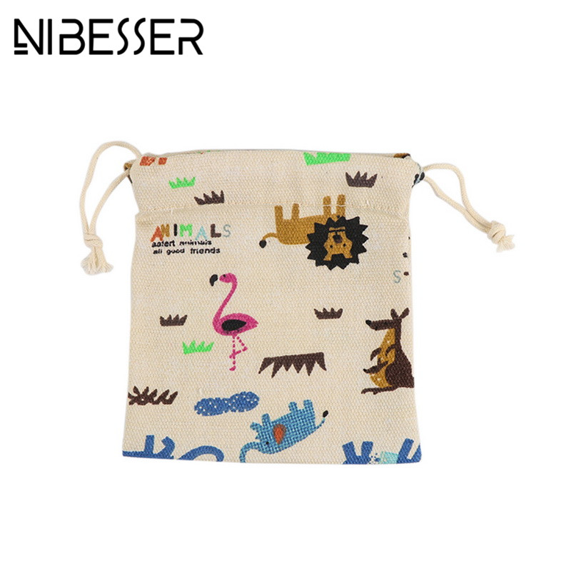 NIBESSER Creative Cute Cartoon Coin Purse Animal Storage Bag Beam Pocket Drawstring Girls Coin Purse Storage Lady Money Bag