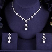 New design luxury pearl crystal zircon water drop shape necklace pendant Set for women,high quality party/jewelry wedding(China)