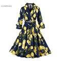 Charmian 1950-х годов Старинные Dress Цветочный Принт Хепберн Стиль Глубокий V Осень Dress Половина Рукава Рокабилли Swing Dress Поясом Vestidos