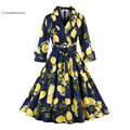 Charmian 1950's Vintage Dress Floral Print Hepburn Style Deep-V Autumn Dress Half Sleeves Rockabilly Swing Dress Belted Vestidos