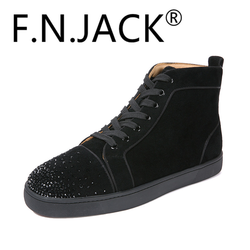 FNJACK Mens Fashion Sneakers Louis Flat Boot Mode Red Bottom 100% - Herrskor