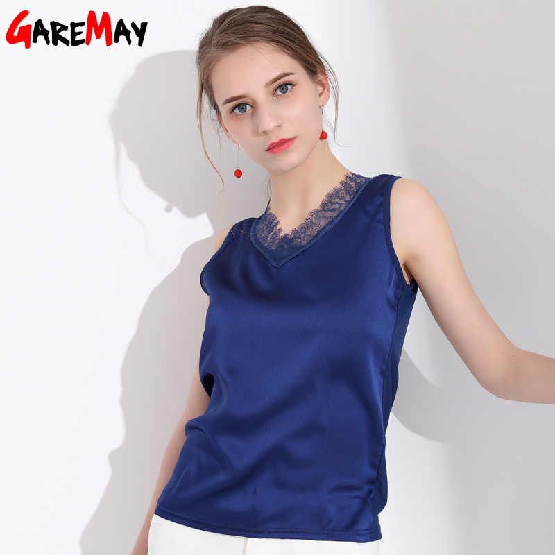 GAREMAY Sleeveless Satin Blouse Women Shirt Summer Plus Size Lace Sexy Blouses For Women Silk Blouse Lace White Slim ladies Top