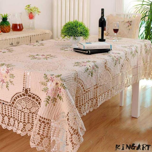 Wedding Table Cloth Beige Flower Crochet Round  Rectangular Table