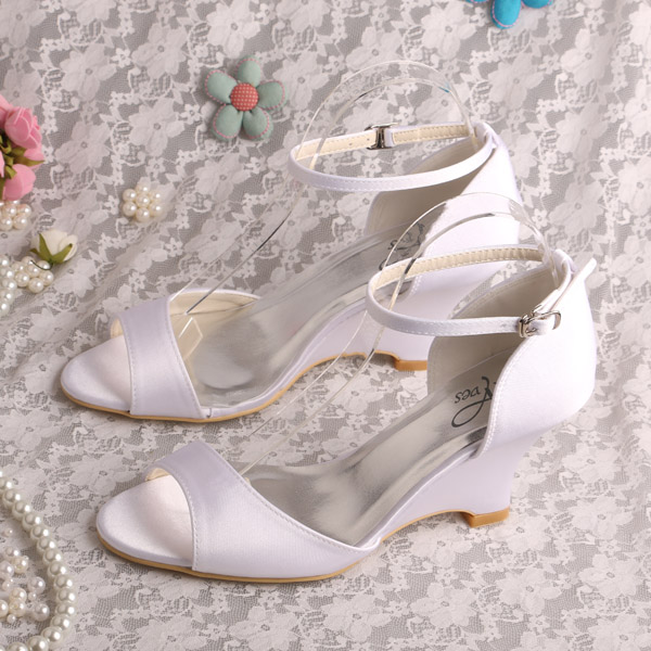 ФОТО Dropshipping Plain Upper Wedge Sandals Heel Shoes White Ankle Strap Size 8