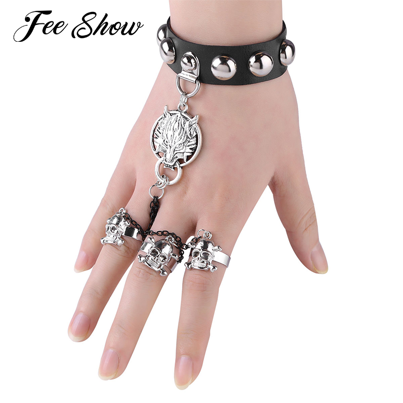 Stylish Women Girls Gothic Steampunk Faux Leather Wolf Head and Skull Fashion Bracelet Wristband Rocker Costumes Party Supplies