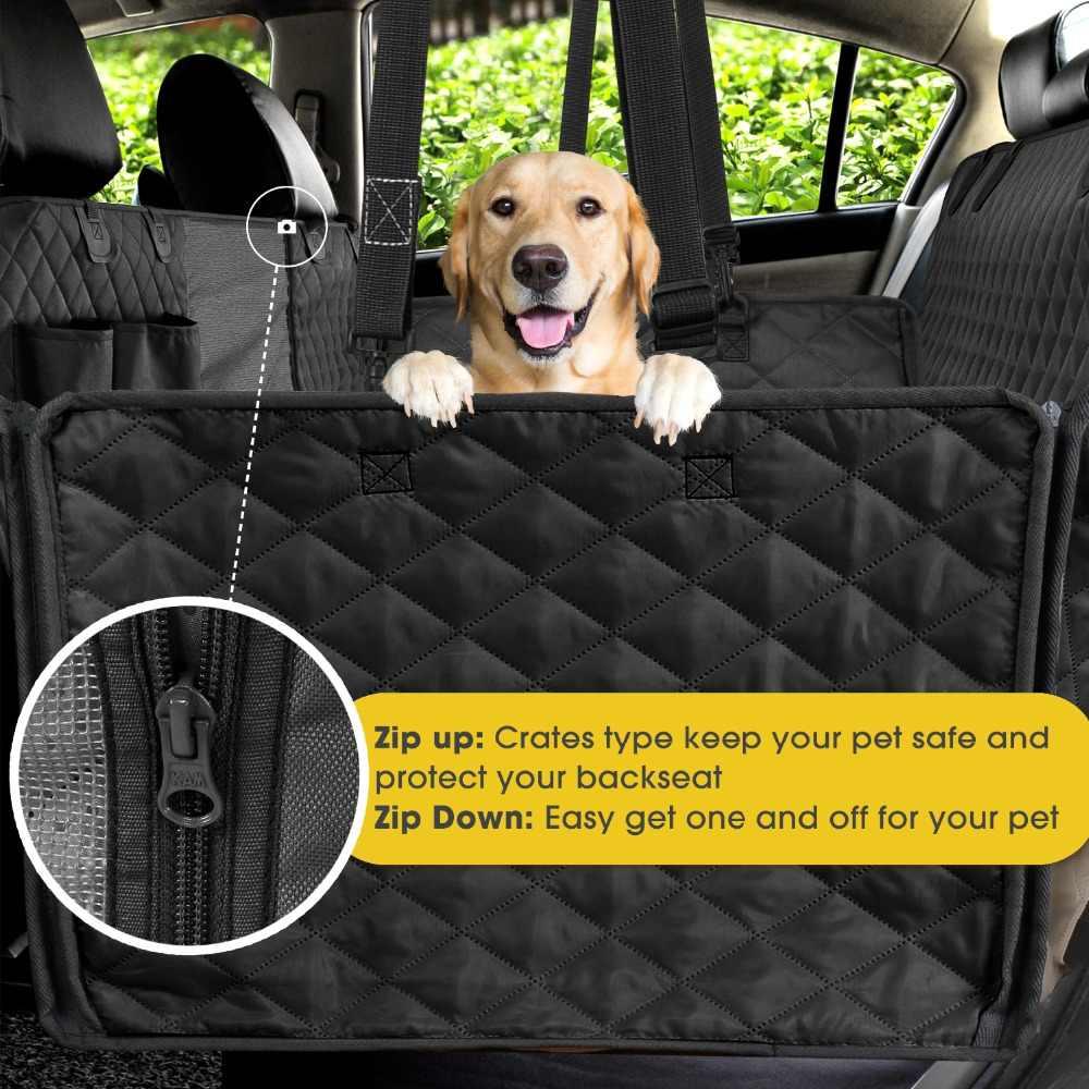 Köpek Araba klozet kapağı Görüş Mesh Pencere Pet Taşıyıcılar köpek koltuk örtüsü Fermuarlı Cebi ile Depolama Su Geçirmez ve Kaymaz Yedekleme