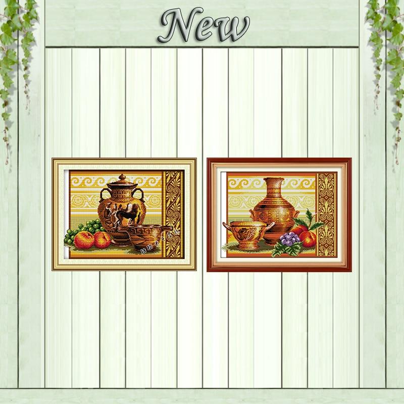 Набор для рукоделия из керамики и фруктового винограда, напечатанный на холсте, DMC 14CT 11CT, наборы для вышивки крестиком и рукоделия