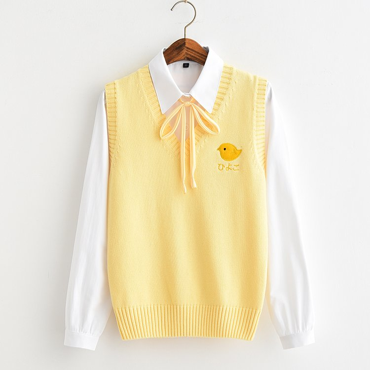All-match Yellow Girl Style Yellow Chick Embroidery Bottoming Sweater Vest Yellow Rope