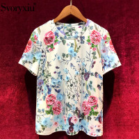 Svoryxiu 2019 Summer Elegant Flower Print Cotton Tops Tees Women's Fashion Diamond Appliques Big Size T Shirts Female