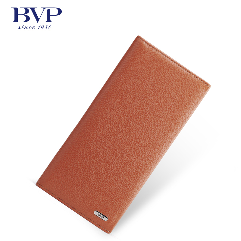 BVP High Quality Brand Business New Men Genuine Leather Slim Bifold Long Wallet Credit Card Holder ID Window 4 Color Q504 fashion solid pu leather credit card holder slim wallet men luxury brand design business card organizer id holder case no zipper