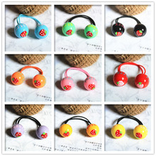 New Arrival styling tools cute strawberry ball elastic hair bands hair accessories for women girl children make you fashion