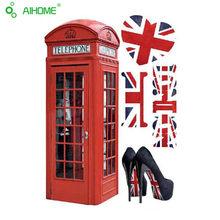 Newest Retro London Telephone Booth Wall Stickers Bright GB Style Home Decoration Living Room Bar Wall Sticker Mural Art 50*70cm(China)