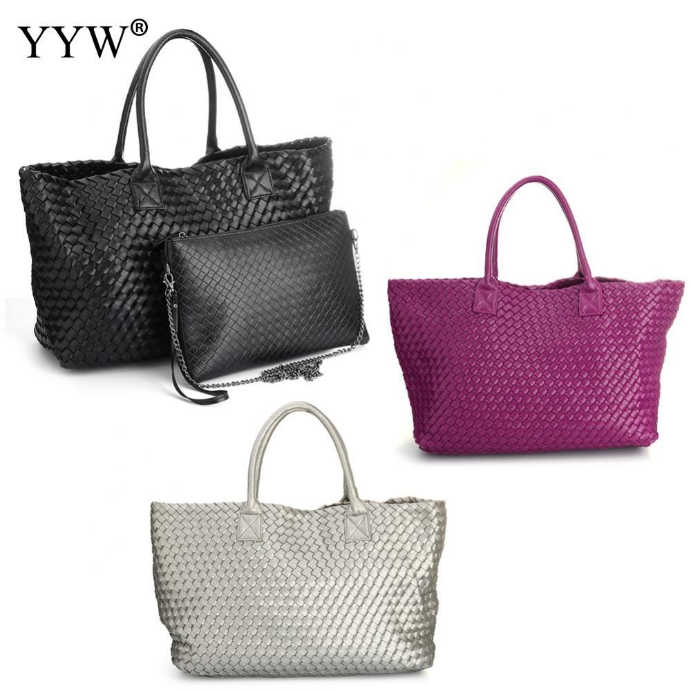 Diamond Lattice PU Leather Large Capacity Tote Bag Set Women Shoulder Bags 2018 Vintage Casual Messenger bag цена