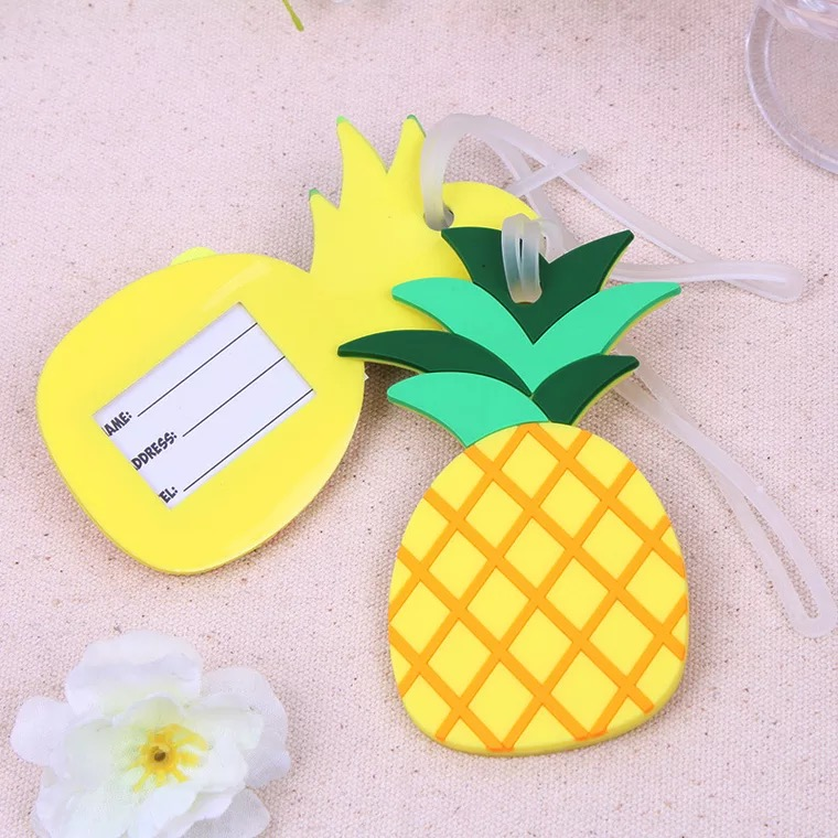 60pcs/lot new Rubber pineapple Luggage Tags favors and gifts for wedding bridal showers party door giveaways souvenirs
