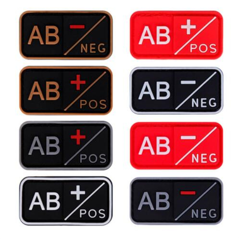 GRAY Cheerleading Souvenirs 3D PVC A+ B+ AB+ O+ Positive A- B- AB- O- Negative Blood Type Group Patch Tactical Morale Badges