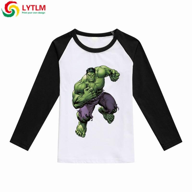2b6508094 LYTLM Increíble Hulk camiseta coreana moda Cool camiseta para niños  Vetement Enfant camisa de manga larga Niño otoño Raglan camisa blanca