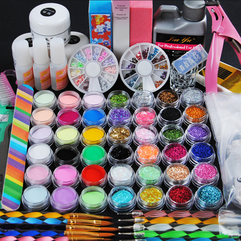 Pro Acrylic Power Manicure Nail Kit Acrylic Liquid Tips Cutter Glitter Rhinestones File Brush Manicure Nail Art Tool Set Gel Kit 1 box about 12000pcs ss6 2mm 12color acrylic non hot fix rhinestones diy 3d nail art glitter decoration manicure nail tips