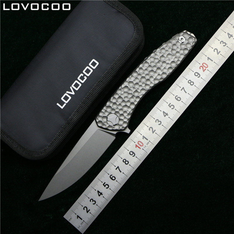 LOVOCOO Svarn retournement couteau pliant D2 lame titane météorite modèle poignée cuisine extérieur utilitaire fruits couteaux EDC outil
