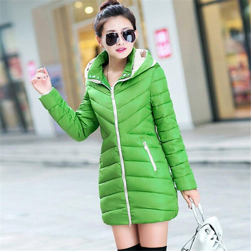 2018 Fashion Women Coat Cotton-padded Winter Jacket Women Medium-long Down   Parka   Female Jacket Casual Hooded Ladies Coat CC130