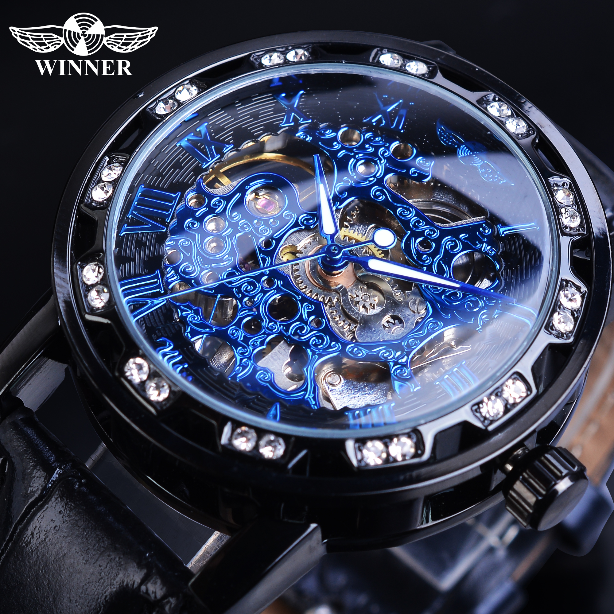 Winner Fashion Brand Blue Mechanical Watch Men Male Rhinestone Hand Wind Leather Band Reloj Hombre Masculino Business Wristwatch