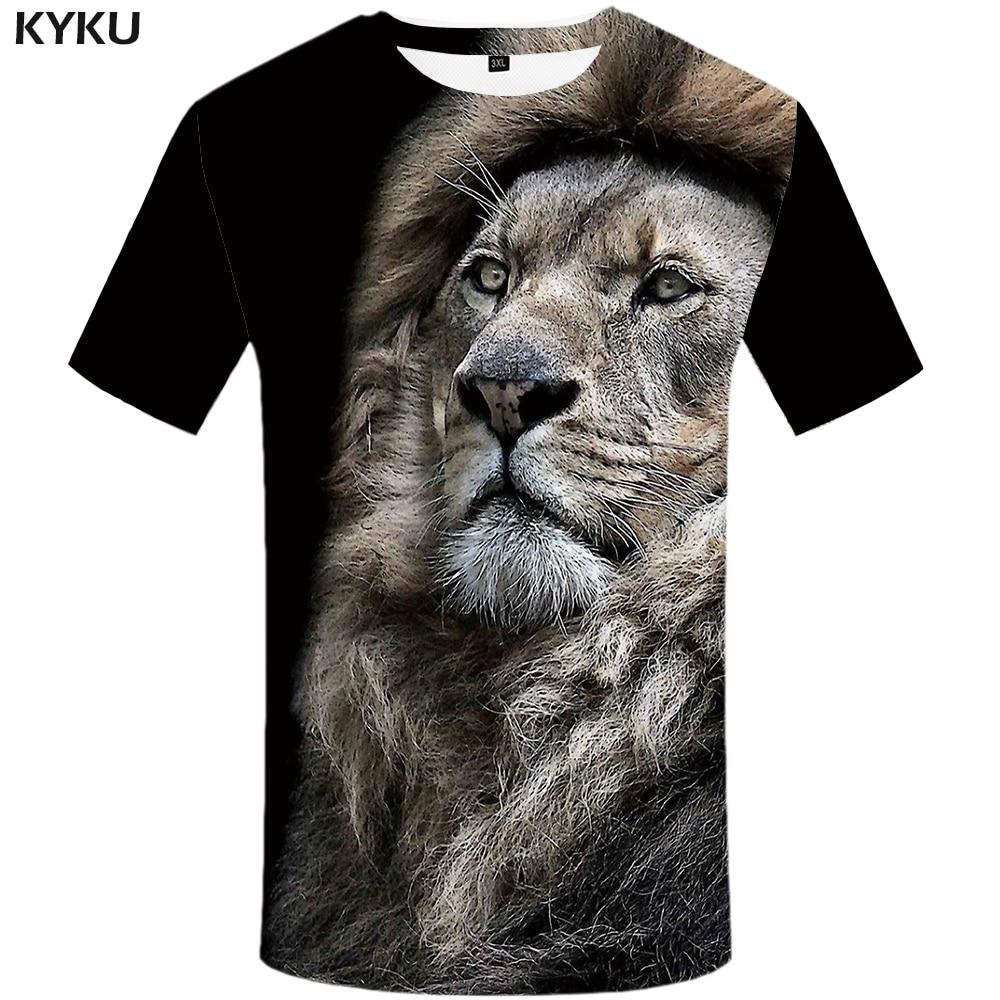 KYKU Lion T Shirt Men Animal Tshirt Sex Funny T Shirts Slim 3d Print T-shirt Hip Hop Tee Cool Mens Clothing 2018 New Summer Top