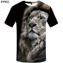 KYKU Lion T Shirt Men Animal Tshirt Sex Funny Shirts Slim 3d Print T-shirt Hip Hop Tee Cool Mens Clothing 2018 New Summer Top