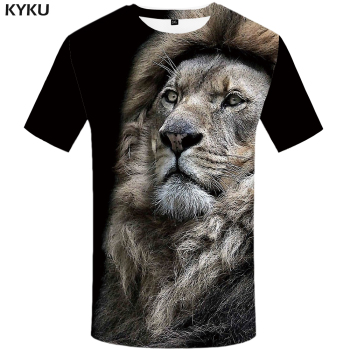 KYKU Lion T Shirt Men Animal Tshirt Sex Funny T Shirts Slim 3d Print T-shirt Hip Hop Tee Cool Mens Clothing 2018 New Summer Top kyku indians tshirt men white feather t shirt hip hop anime clothes character 3d print t shirt punk rock mens clothing summer
