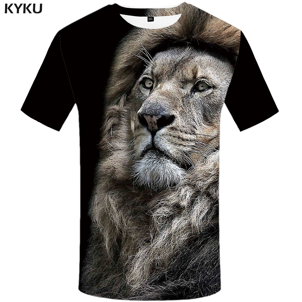 KYKU Lion   T     Shirt   Men Animal Tshirt Sex Funny   T     Shirts   Slim 3d Print   T  -  shirt   Hip Hop Tee Cool Mens Clothing 2018 New Summer Top